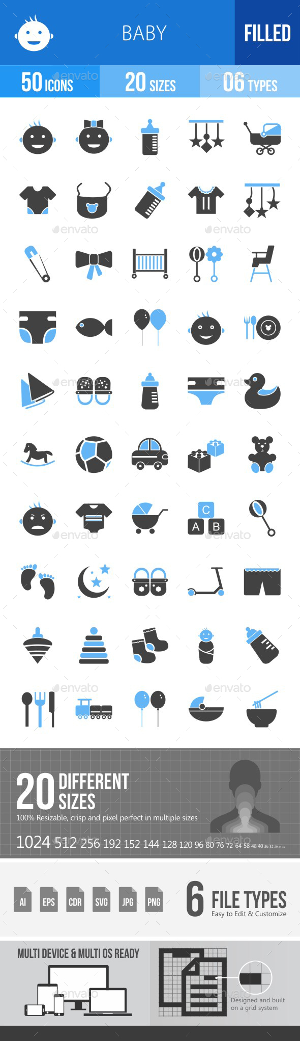 Baby Blue & Black Icons - Icons