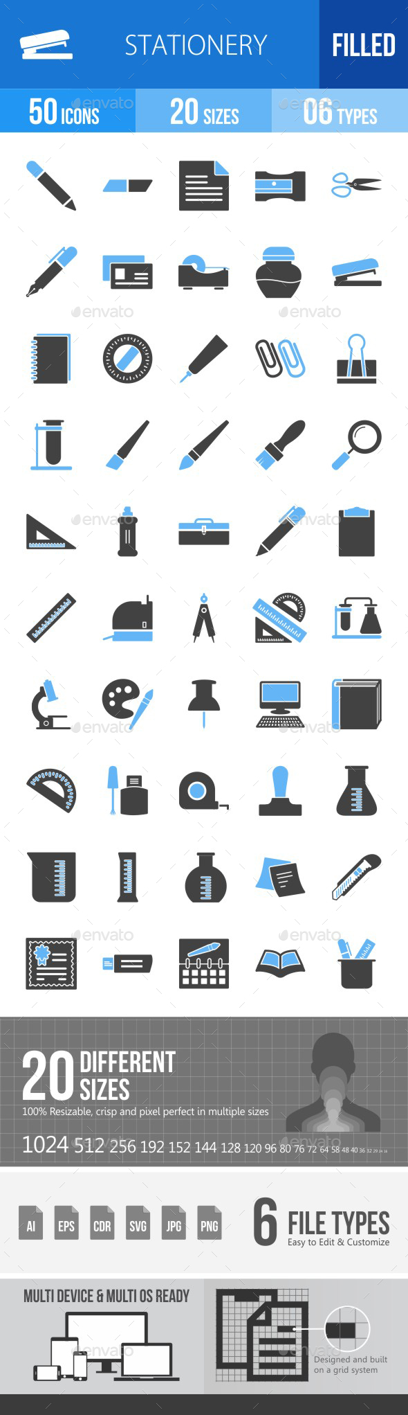 Stationery Blue & Black Icons - Icons