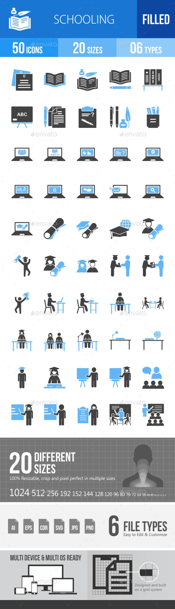 Schooling Blue & Black Icons - Icons