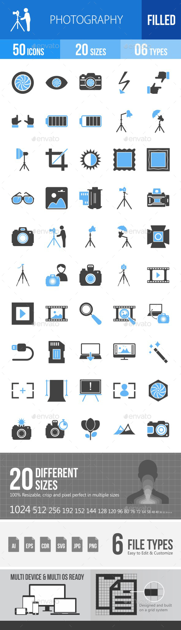 Photography Blue & Black Icons - Icons