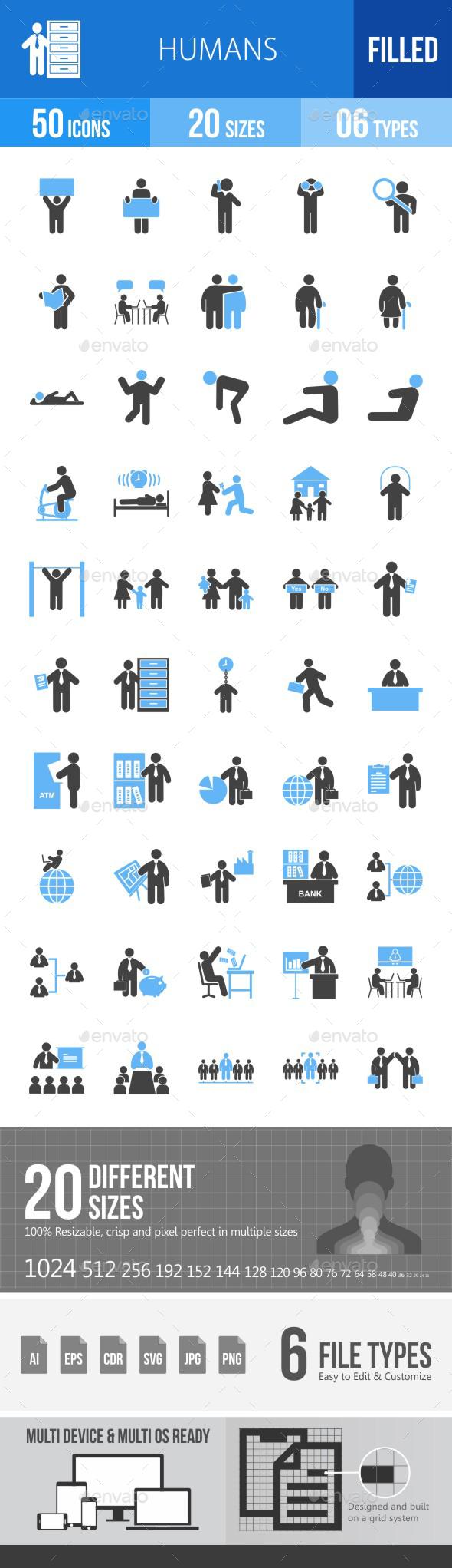 Humans Blue & Black Icons - Icons