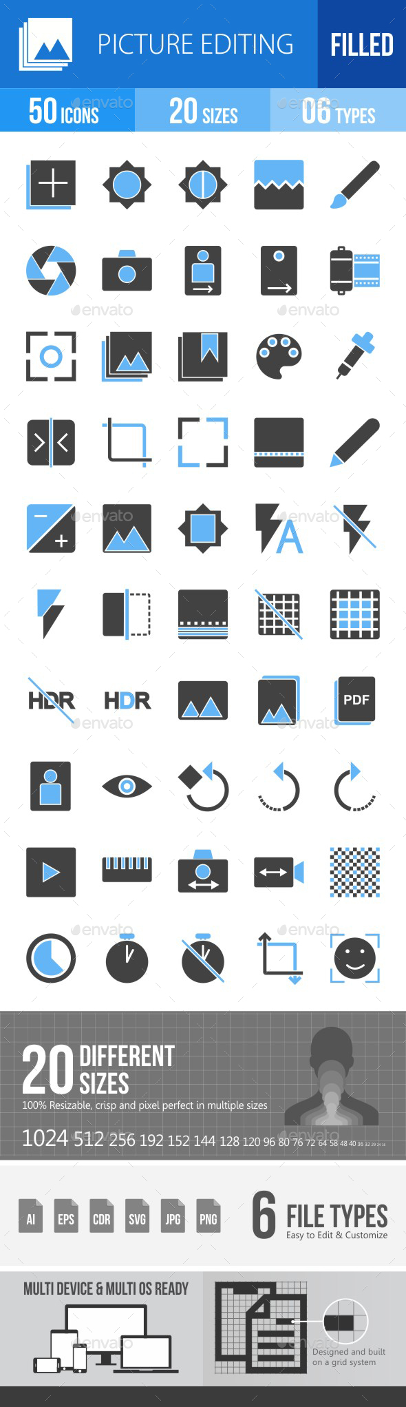 Picture Editing Blue & Black Icons - Icons