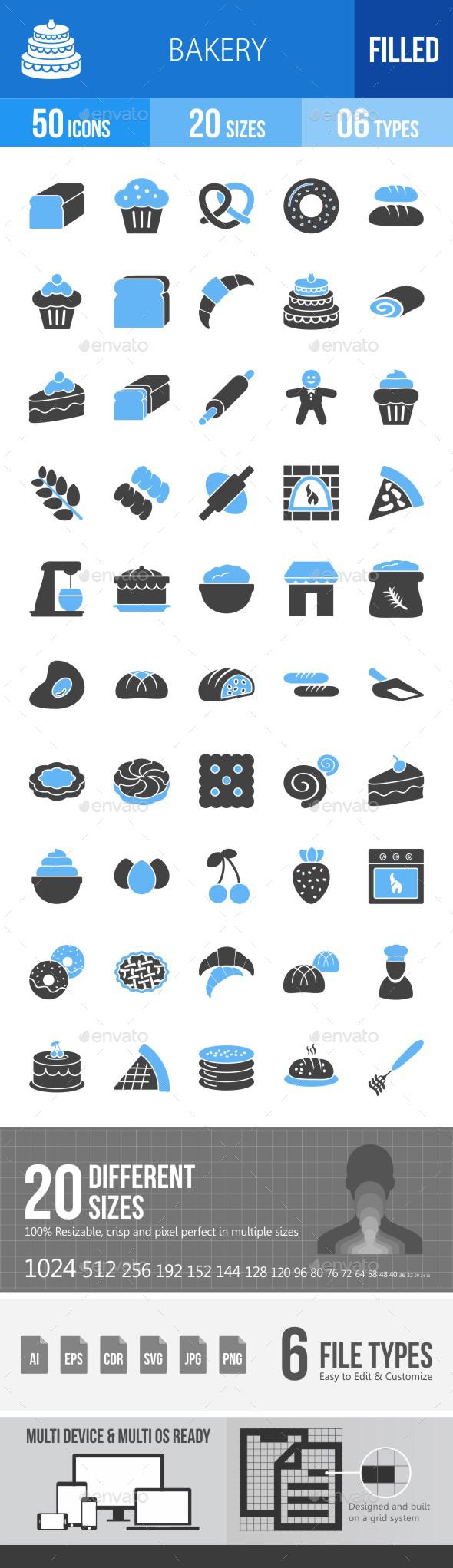 Bakery Blue & Black Icons - Icons