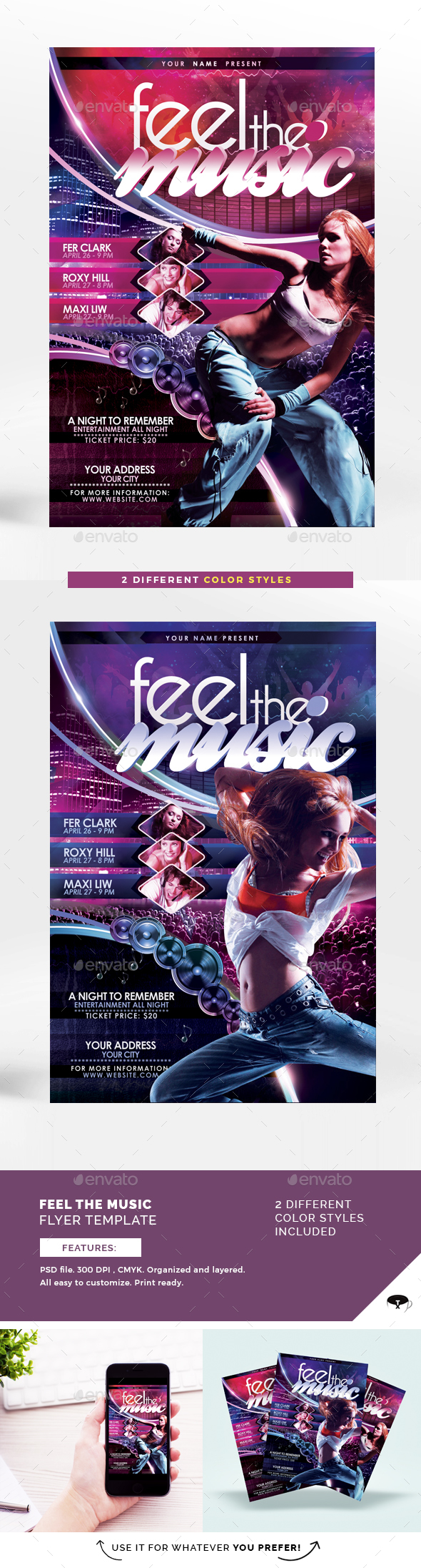 Feel The Music Flyer Template - Flyers Print Templates