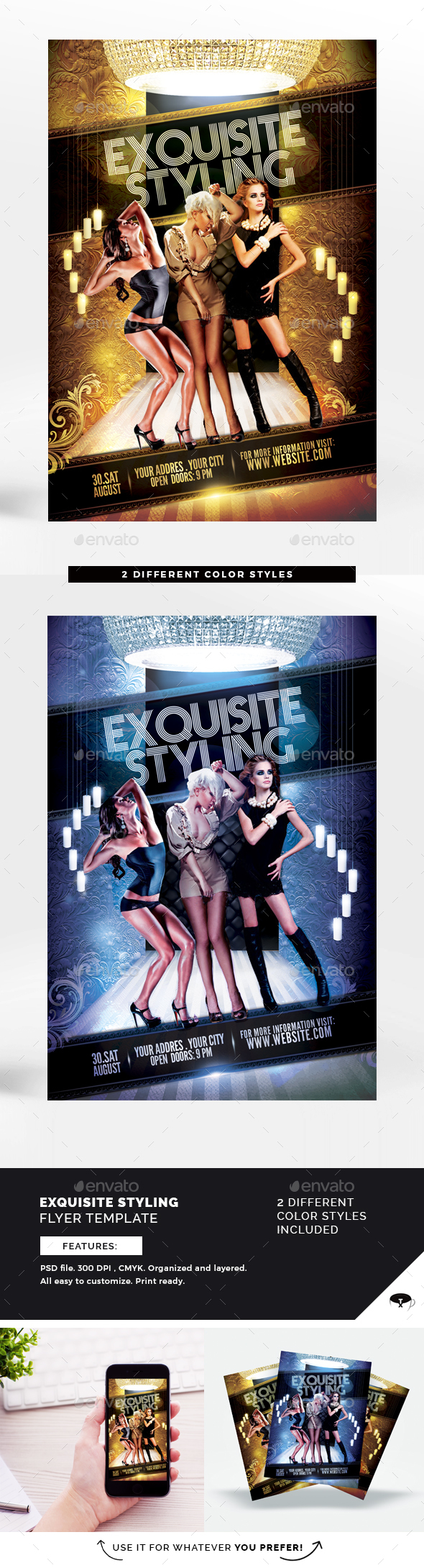 Exquisite Styling Flyer Template - Clubs & Parties Events
