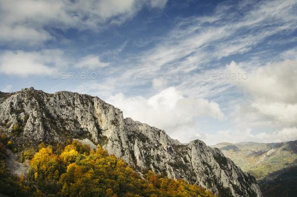 Mountain peak in autumn - Stock Photo - Images