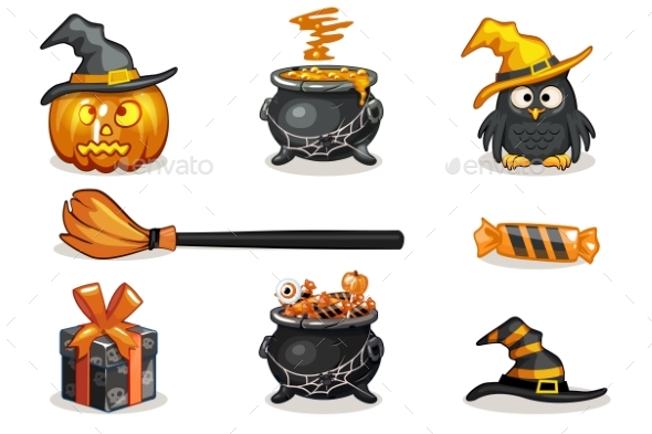 Orange and Black Halloween Icons - Halloween Seasons/Holidays