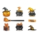 Orange and Black Halloween Icons