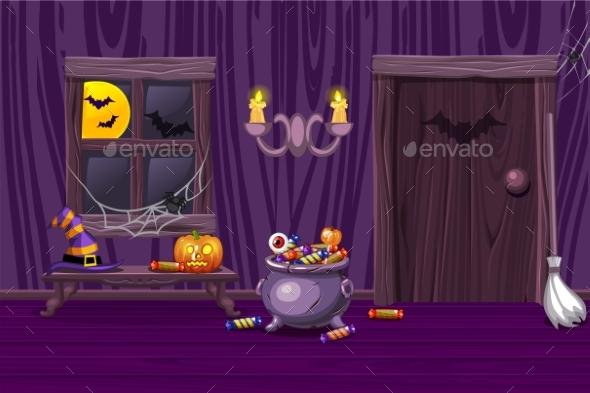 Purple House Interior Wooden Room - Halloween Seasons/Holidays