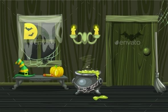 Green House Interior Wooden Room - Halloween Seasons/Holidays