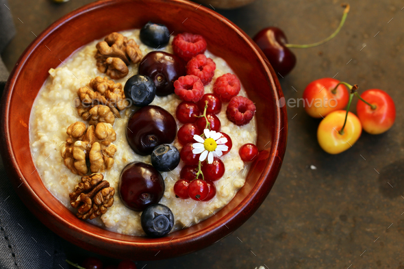 Oat Porridge with Berries - Stock Photo - Images