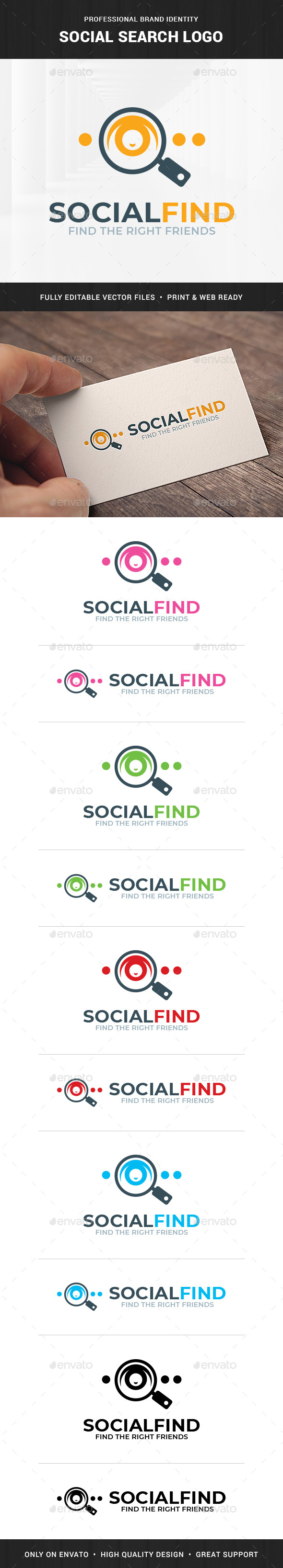 Social Search Logo Template - Humans Logo Templates