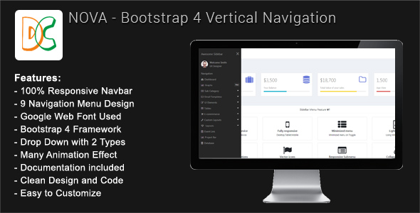 Nova - Bootstrap 4 Sidebar Navigation - CodeCanyon Item for Sale