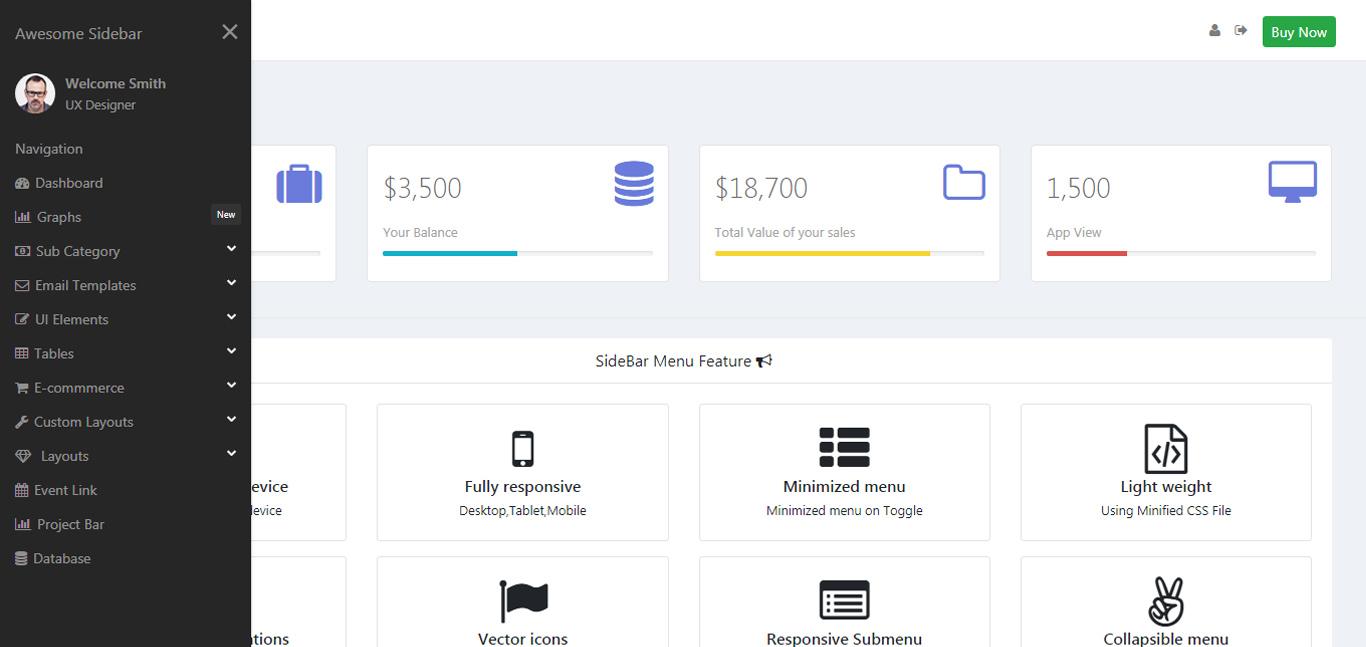 Nova Bootstrap 4 Sidebar Navigation