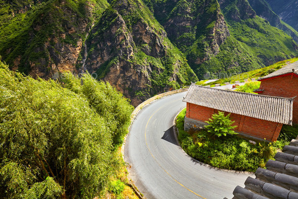 Scenic mountain road sharp turn. - Stock Photo - Images
