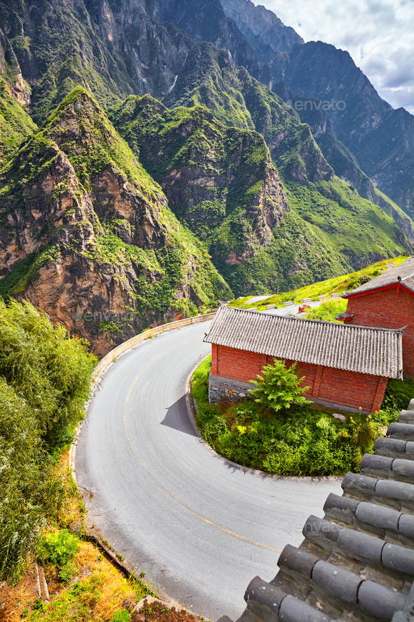 Scenic mountain road sharp turn. - Stock Photo - Images