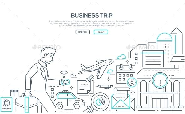 Business Trip - Modern Line Design Style - Travel Conceptual
