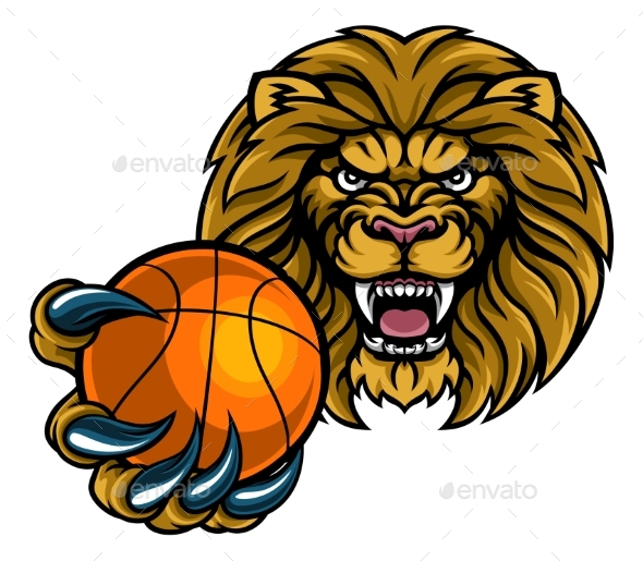 Lion Basketball Ball Sports Mascot - Sports/Activity Conceptual