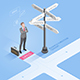 Businessman Standing at Directional Signs Arrows - GraphicRiver Item for Sale