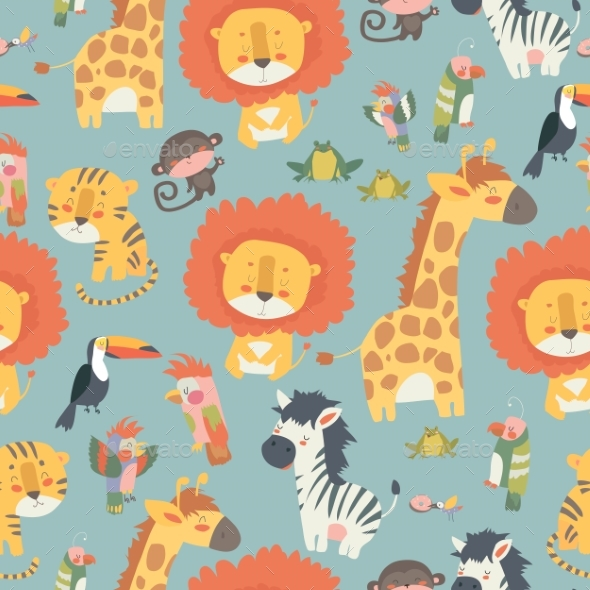 Happy Jungle Animals Seamless Pattern - Animals Characters