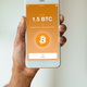 African american person sending a bitcoin btc crypto transaction - PhotoDune Item for Sale