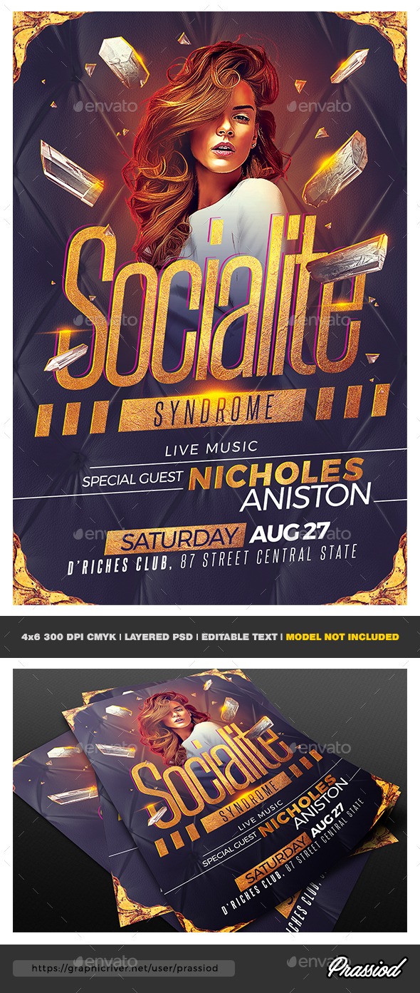 Socialite Syndrome Party Flyer Template - Clubs & Parties Events