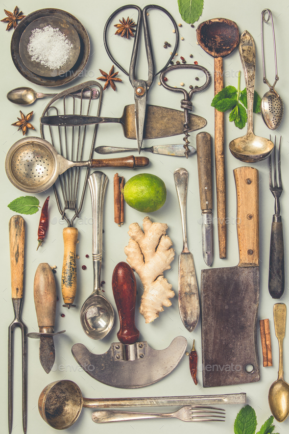 Collection of old vintage cutlery - Stock Photo - Images