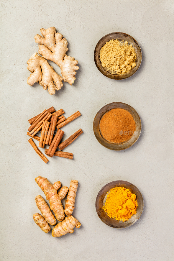 Ginger, turmeric and cinnamon - Stock Photo - Images
