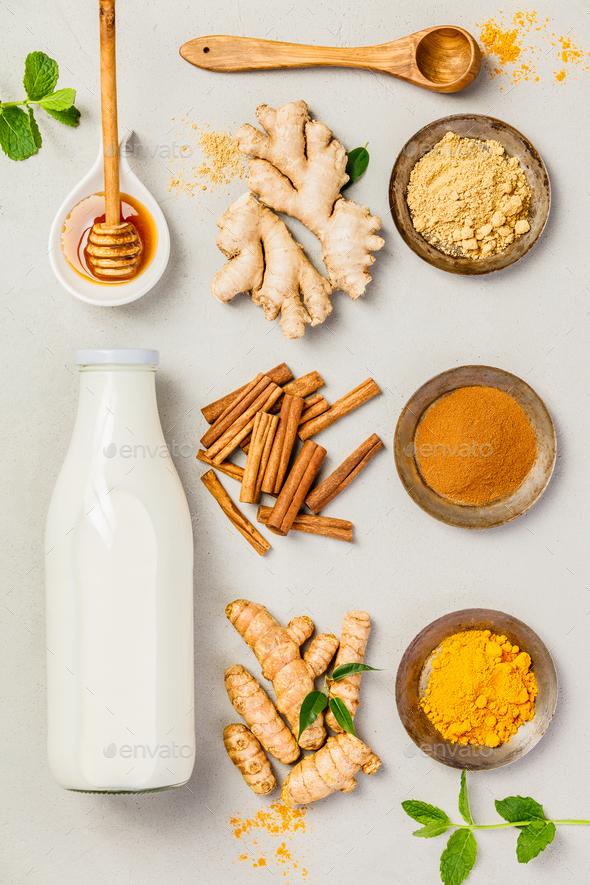 turmeric tea or golden turmeric milk - Stock Photo - Images