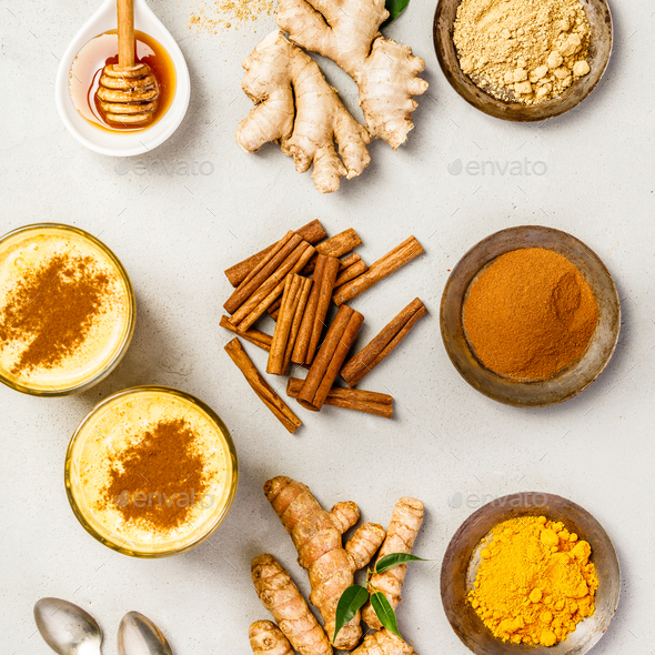 turmeric tea or golden turmeric latte - Stock Photo - Images