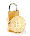 The golden bitcoin. Cryptocurrency and padlock. - PhotoDune Item for Sale