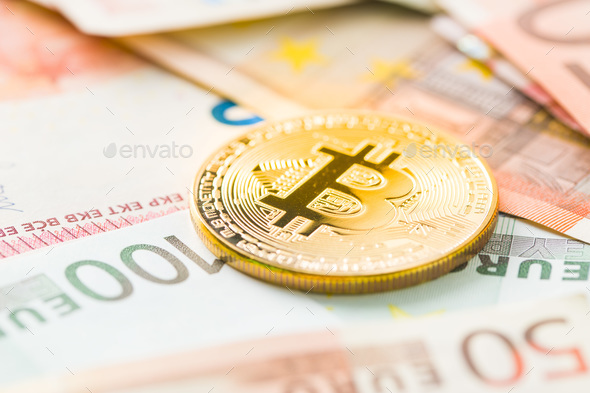 The golden bitcoin and euro currency. - Stock Photo - Images