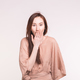 Surprise, shame and people concept - Asian brunette woman covering her mouth - PhotoDune Item for Sale
