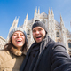 Happy couple taking self portrait in Duomo square - PhotoDune Item for Sale