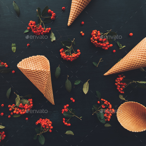 Waffle ice cream cone flat lay top view - Stock Photo - Images