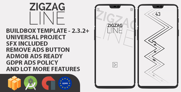 ZigZag Line Buildbox with GDPR: Android Game            Nulled