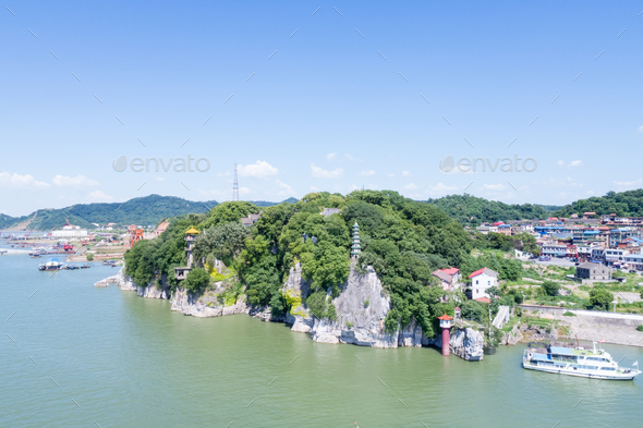 aerial view of stone bell hill scenic area - Stock Photo - Images