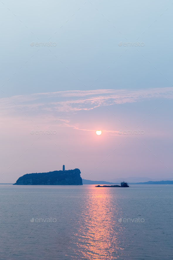 shoes hill on poyang lake in sunrise - Stock Photo - Images