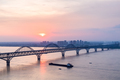 jiujiang yangtze river bridge in sunset - PhotoDune Item for Sale
