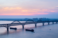 jiujiang yangtze river bridge with sunset glow, China - PhotoDune Item for Sale