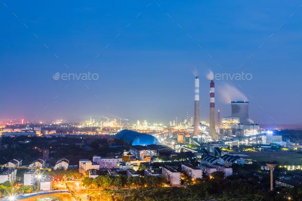 thermal power plant at night, jiujiang, China - Stock Photo - Images