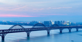 jiujiang yangtze river bridge in nightfall, China - PhotoDune Item for Sale