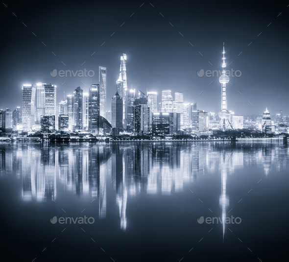 shanghai skyline night view and reflection - Stock Photo - Images