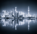 shanghai skyline night view and reflection - PhotoDune Item for Sale
