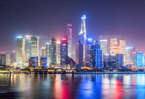 beautiful shanghai cityscape at night - Stock Photo - Images