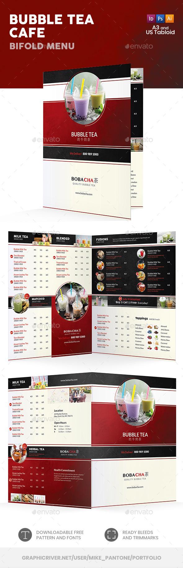 Bubble Tea Cafe Bifold / Halffold Menu 2 - Food Menus Print Templates