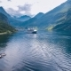Geiranger Fjord Nature Norway Aerial View of the Campsite To Relax - VideoHive Item for Sale