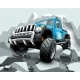 Extreme Blue Off Road Vehicle SUV on Mountain.