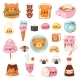 Food Kawaii Vector Cartoon Bear Expression