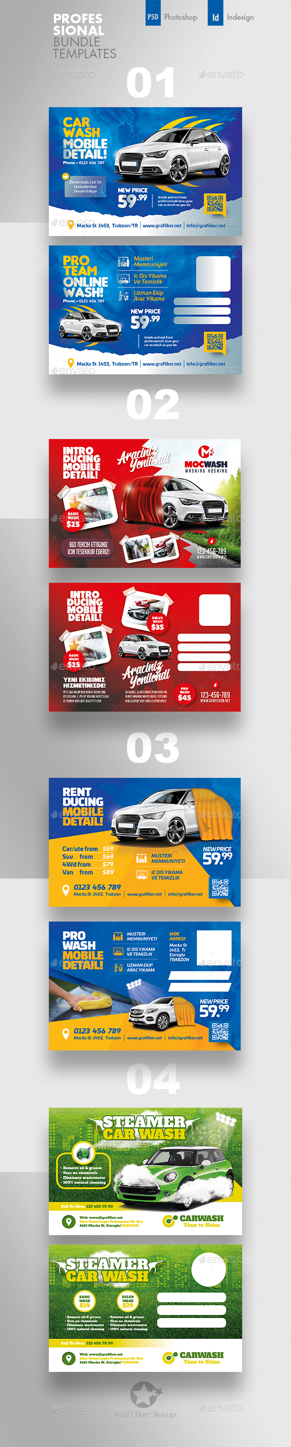 Car Wash Postcard Bundle Templates - Cards & Invites Print Templates